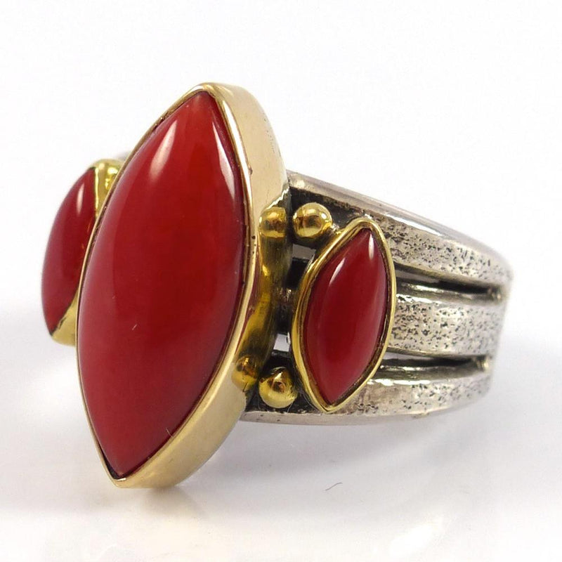 Coral and Gold Ring - Jewelry - Noah Pfeffer - 3