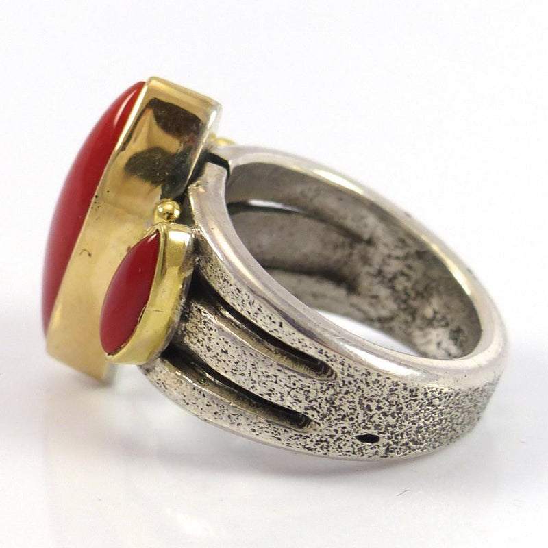 Coral and Gold Ring - Jewelry - Noah Pfeffer - 4