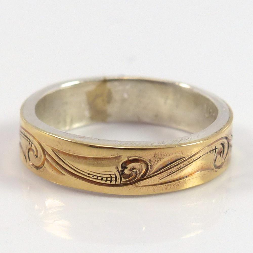 Engraved Gold on Silver Ring, Leonard Nez, Jewelry, Garland's Indian Jewelry