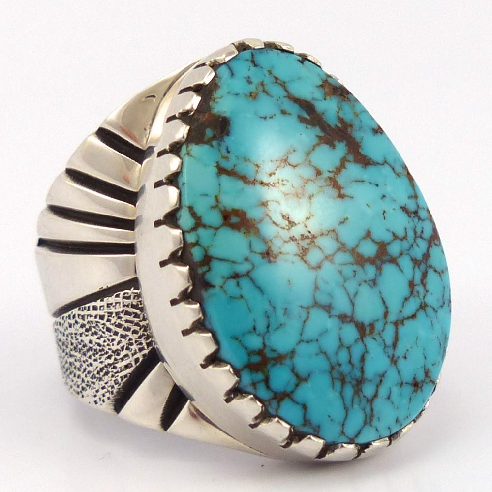Blue Widow Turquoise Ring, Leonard Nez, Jewelry, Garland's Indian Jewelry