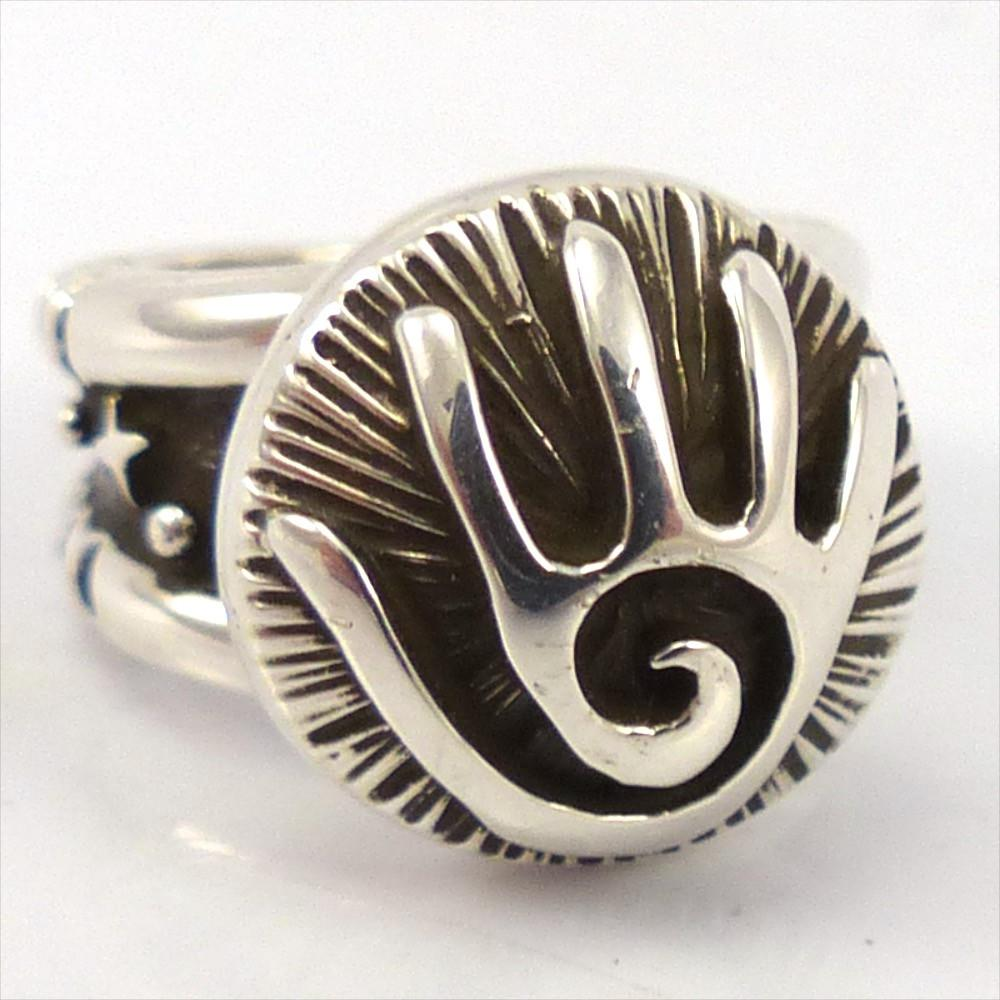 Silver Hand Ring, Kerah Tsosie, Jewelry, Garland's Indian Jewelry