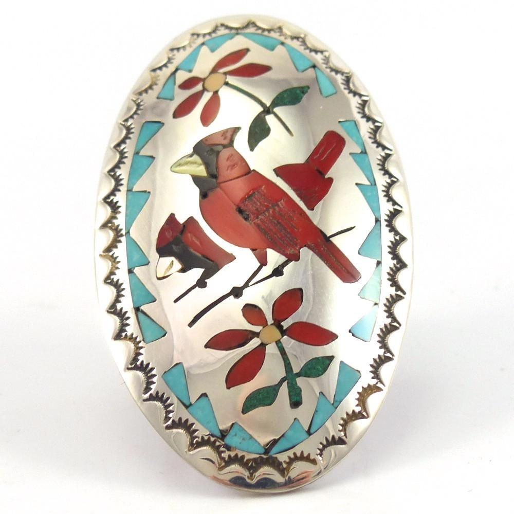 Cardinal Inlay Ring, Quintin Quam, Jewelry, Garland's Indian Jewelry