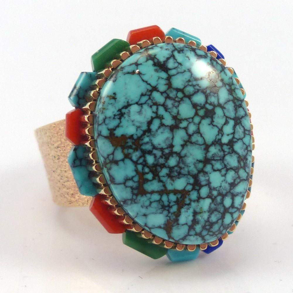 Gold and Turquoise Ring, Boyd Tsosie, Jewelry, Garland's Indian Jewelry