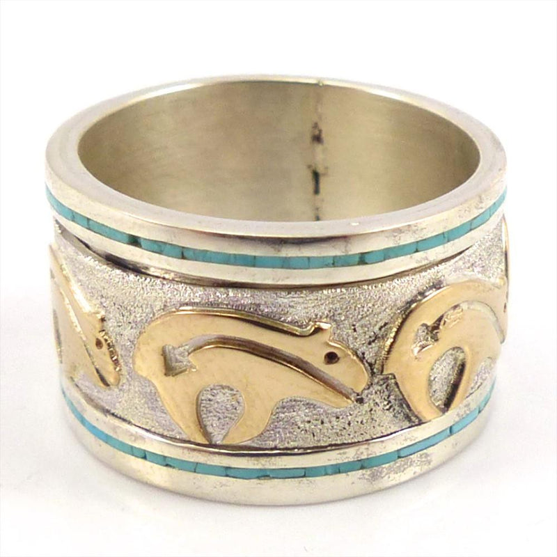 "Gold on Silver ""Spinner"" Ring, Robert Taylor, Jewelry, Garland's Indian Jewelry"