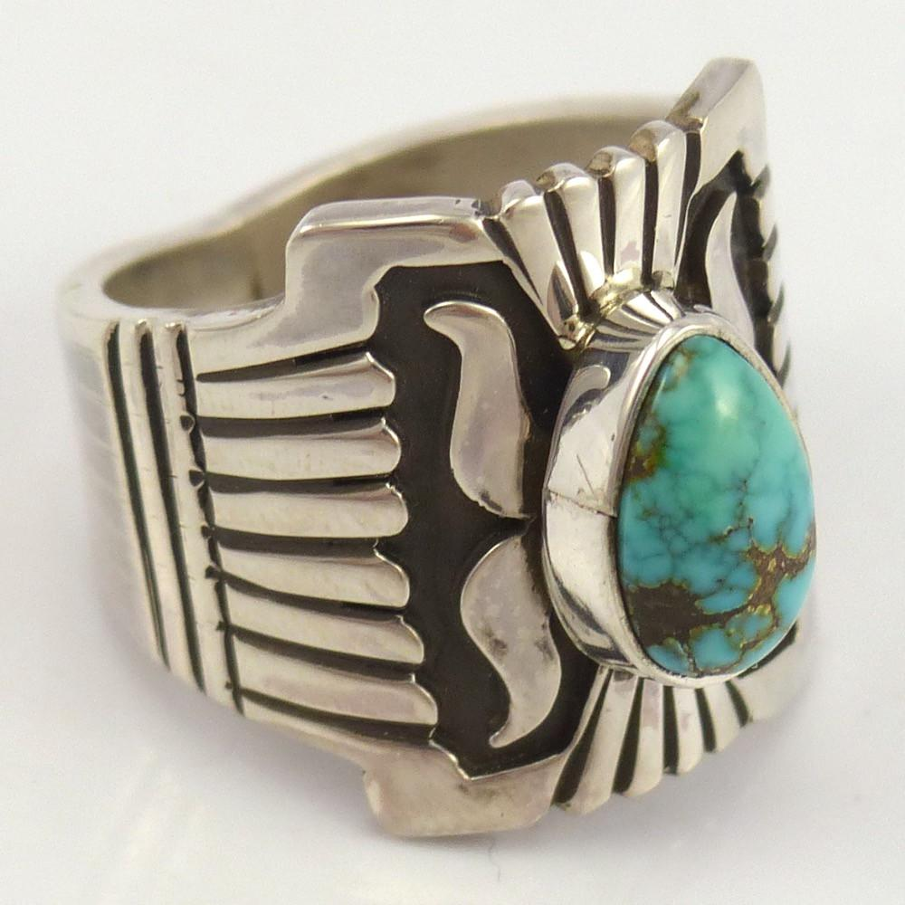 Carico Lake Turquoise Ring, Leonard Nez, Jewelry, Garland's Indian Jewelry