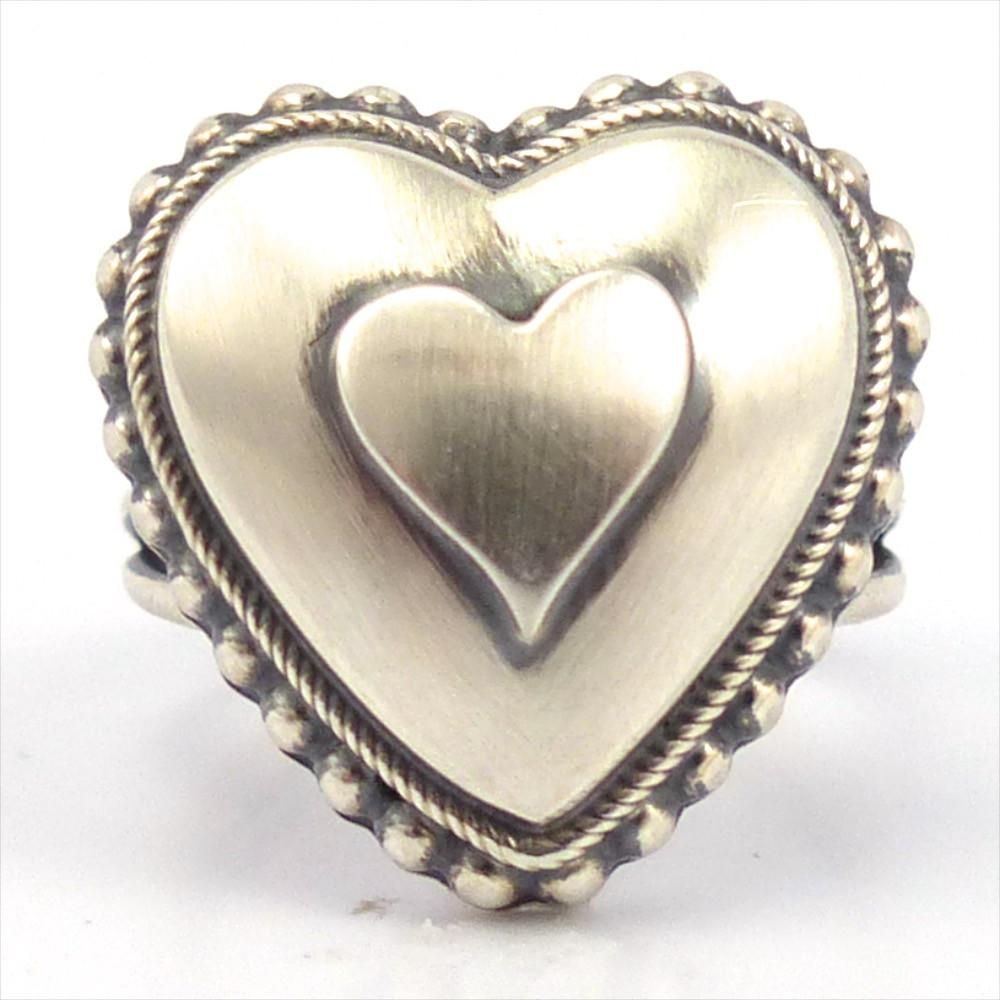 Silver Heart Ring, Curtis Pete, Jewelry, Garland's Indian Jewelry