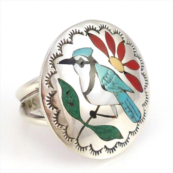 Blue Jay Ring, Quintin Quam, Jewelry, Garland's Indian Jewelry