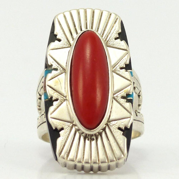 Coral Inlay Ring, Leo Yazzie, Jewelry, Garland's Indian Jewelry