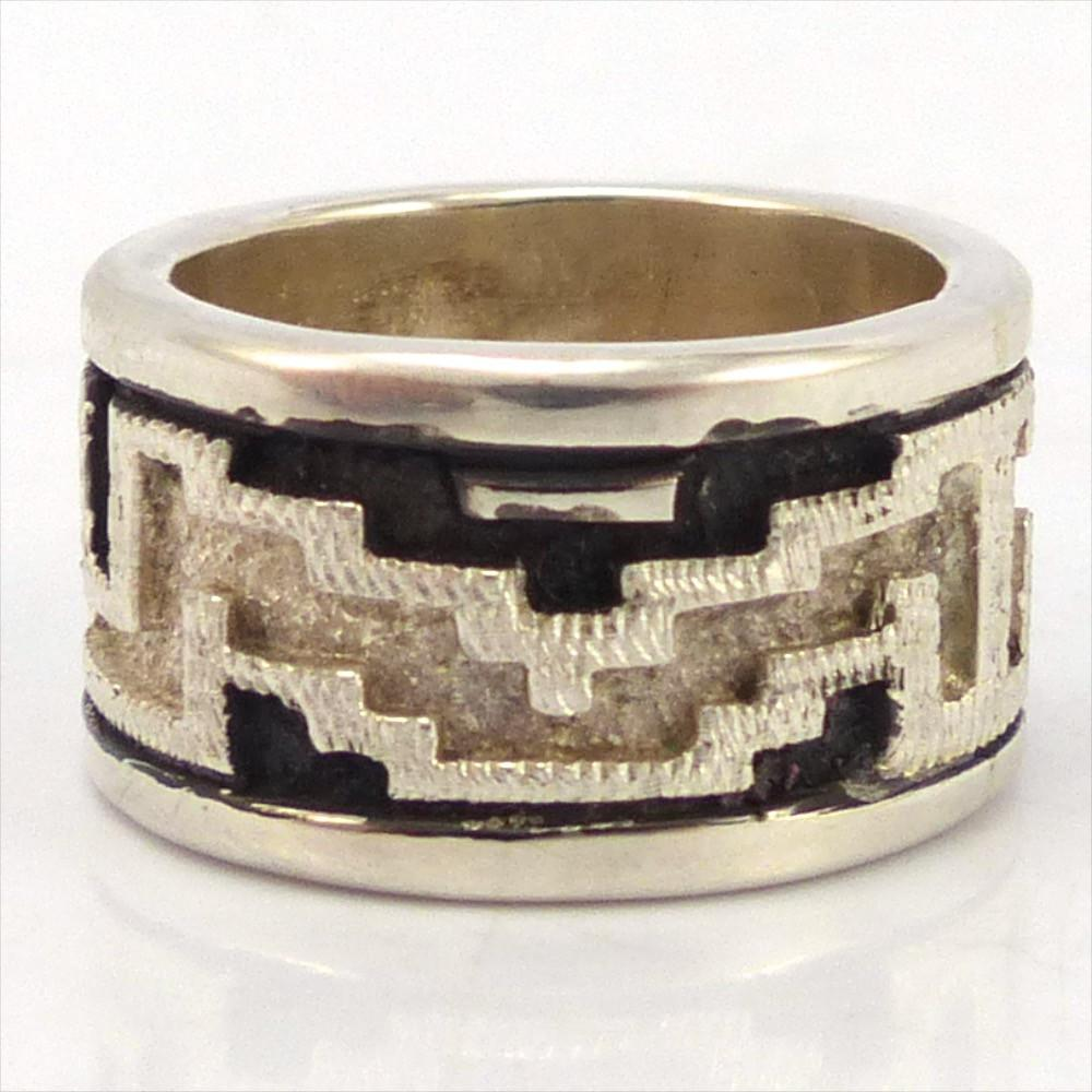 Silver Navajo Rug Ring, Dan Jackson, Jewelry, Garland's Indian Jewelry