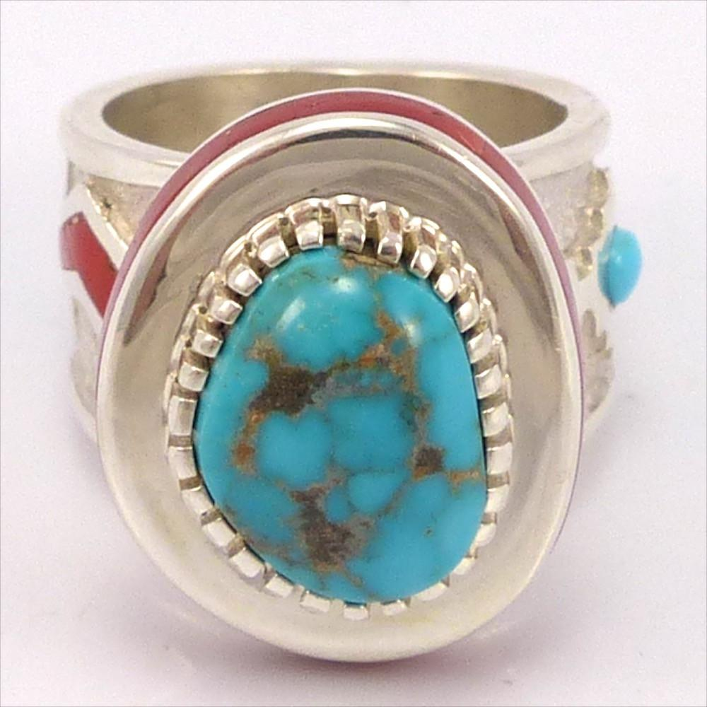 Turquoise and Coral Ring, Michael Perry, Jewelry, Garland's Indian Jewelry