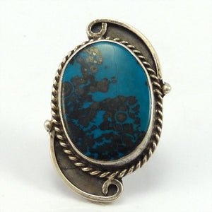 1970s Chrysocolla Ring, Roy Vandever, Jewelry, Garland's Indian Jewelry