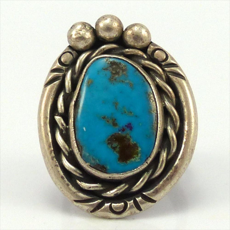 1970s Blue Gem Turquoise Ring, Vintage Collection, Jewelry, Garland's Indian Jewelry