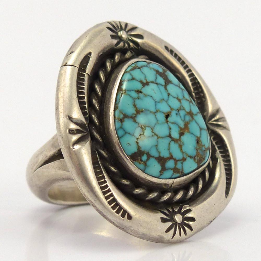 1970s Turquoise Mountain Ring, Johnny Frank, Jewelry, Garland's Indian Jewelry