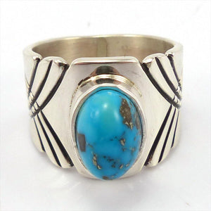 Bisbee Turquoise Ring, Steven Yellowhorse, Jewelry, Garland's Indian Jewelry
