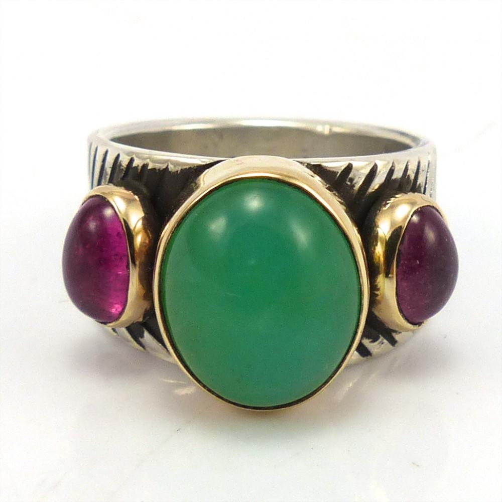 Chrysoprase and Tourmaline Ring, Noah Pfeffer, Jewelry, Garland's Indian Jewelry