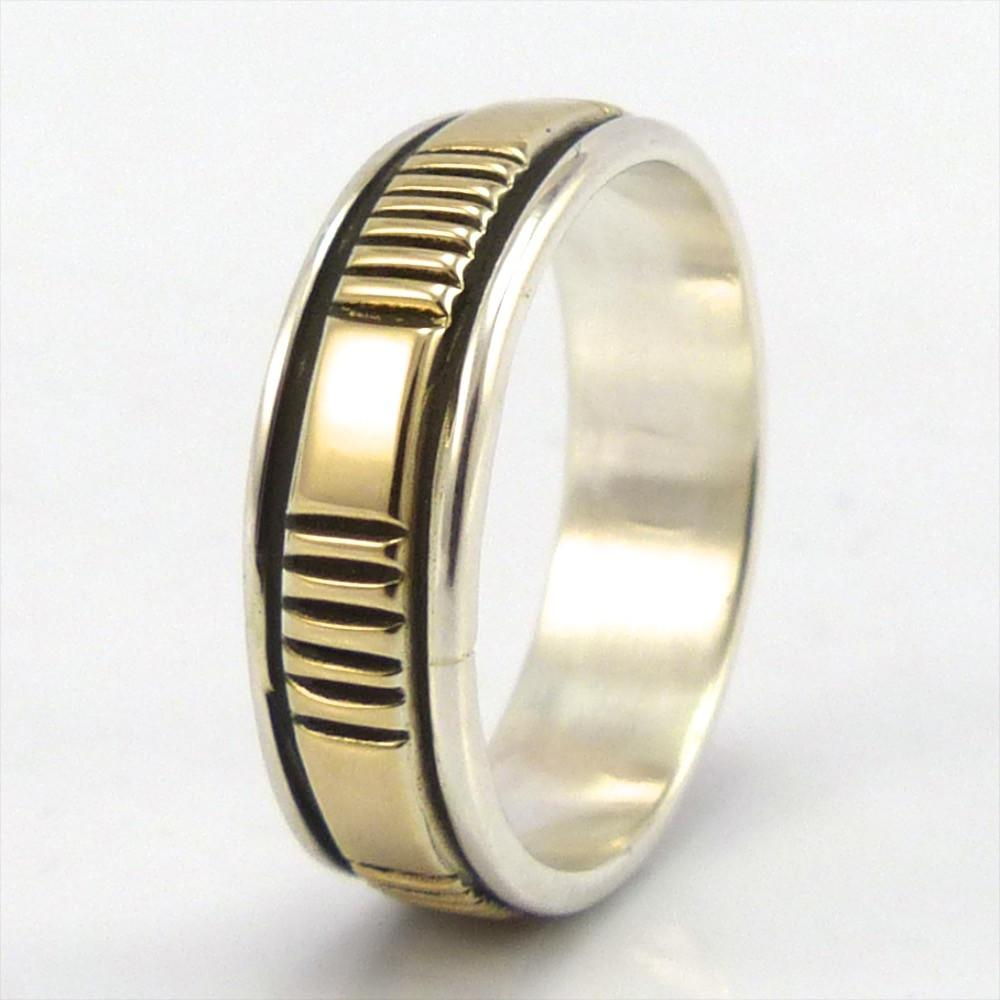 Gold on Silver Ring, Bruce Morgan, Jewelry, Garland's Indian Jewelry