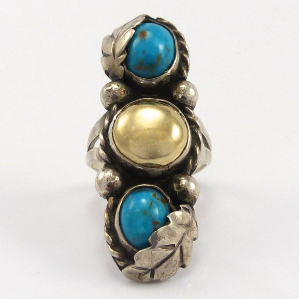 Turquoise and Brass Ring