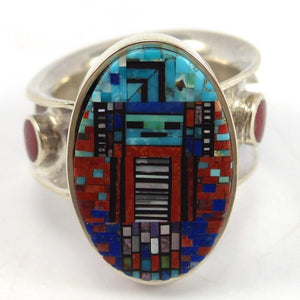 Micro Inlay Yei Ring, Irene and Carl Clark, Jewelry, Garland's Indian Jewelry