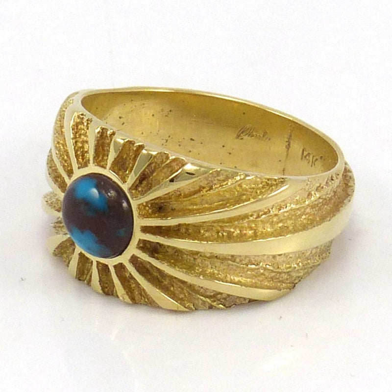 Bisbee Turquoise and Gold Ring, Ric Charlie, Jewelry, Garland's Indian Jewelry