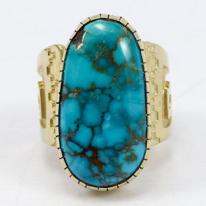 Apache Blue Turquoise and Gold Ring
