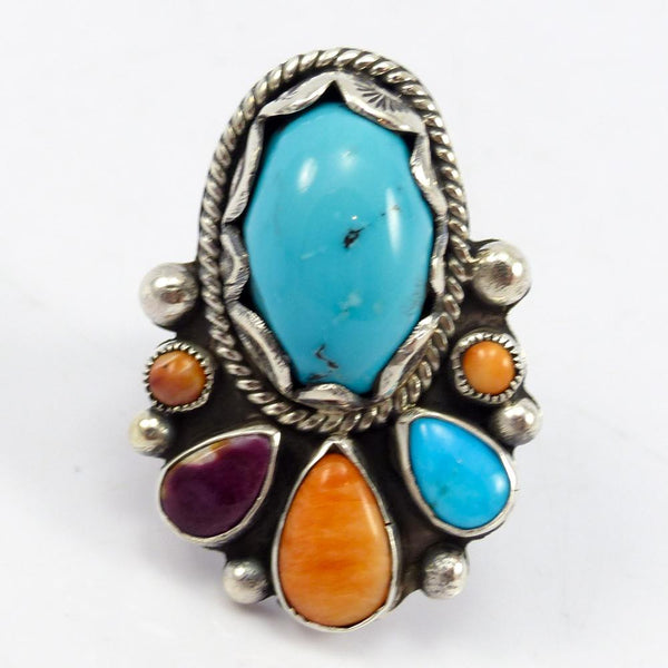 Turquoise and Spiny Oyster Shell Ring