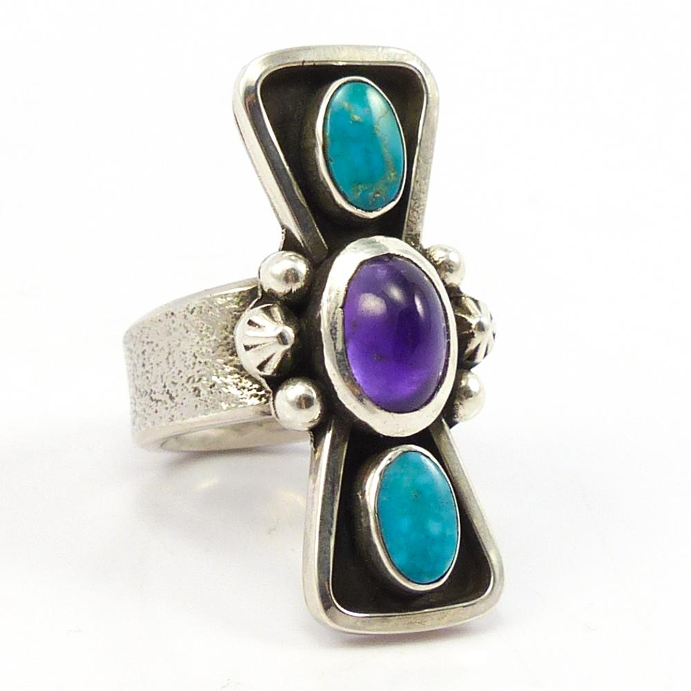 Turquoise and Amethyst Ring