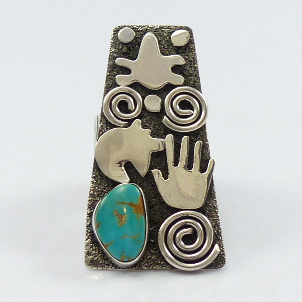 Turquoise Petroglyph Ring