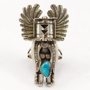 Turquoise Crow Mother Kachina Ring