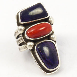 Coral and Sugilite Ring