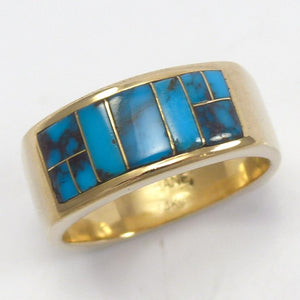 Bisbee Turquoise and Gold Ring