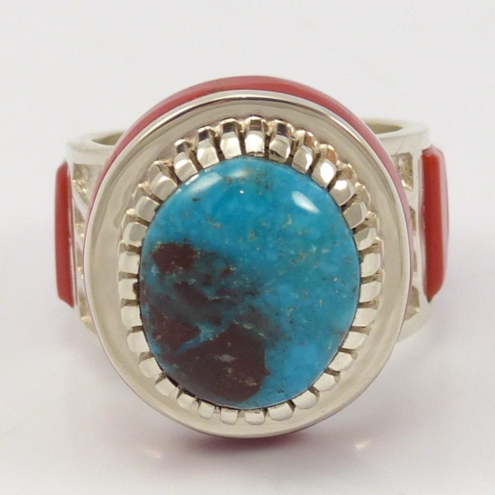 Bisbee Turquoise and Coral Ring