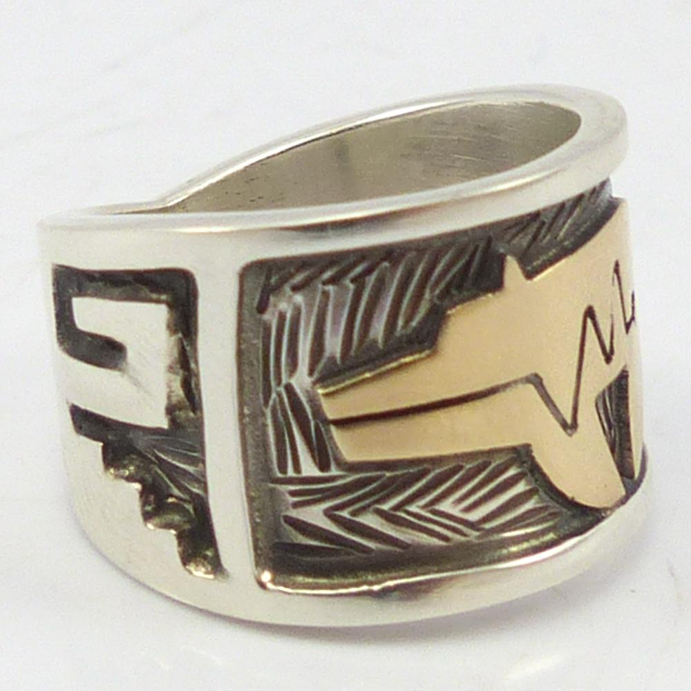 Gold on Silver Bear Ring