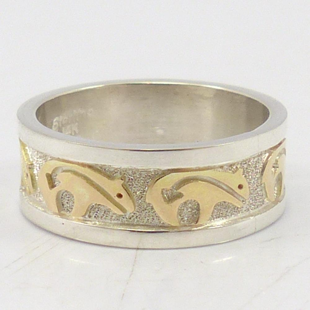 Gold and Silver Bear Ring