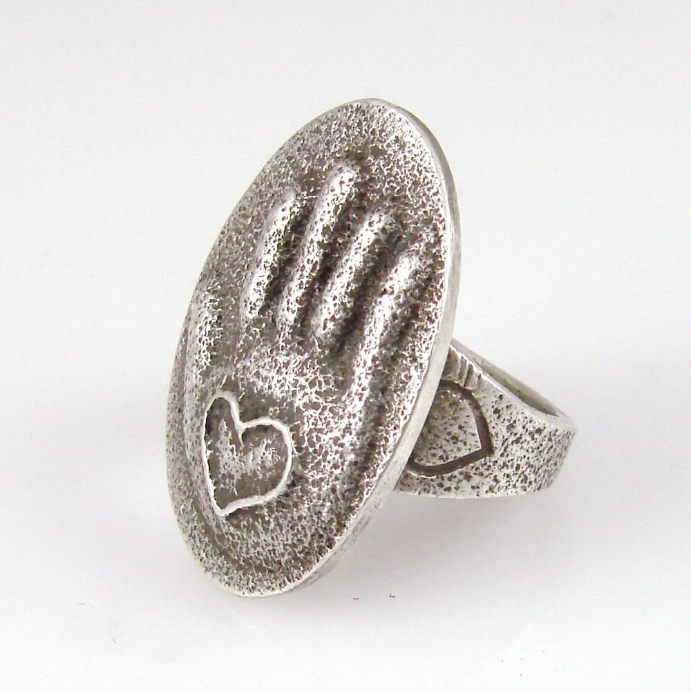 Silver Heart in Hand Design Ring - Jewelry - Ramona Garcia - 1