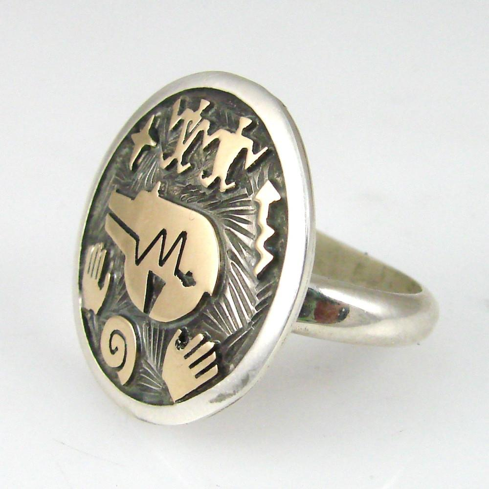 Adjustable Overlay Petroglyph Ring - Jewelry - Arland Ben - 1