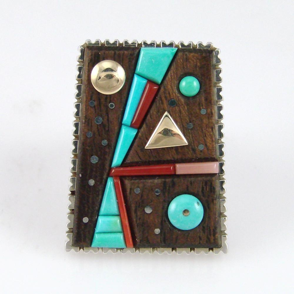 Turquoise, Coral, and Ironwood Ring - Jewelry - Boyd Tsosie - 1