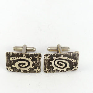 Silver Overlay Cuff Links - Jewelry - Kee Yazzie - 1