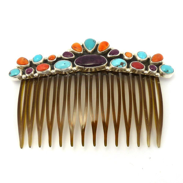 Multi-Stone Hair Comb, Clarissa and Vernon Hale, Jewelry, Garland's Indian Jewelry