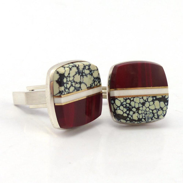 Inlay Cuff Links, Duane Maktima, Jewelry, Garland's Indian Jewelry