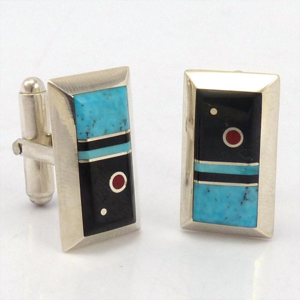 Inlay Cuff Links, Veronica Benally, Jewelry, Garland's Indian Jewelry