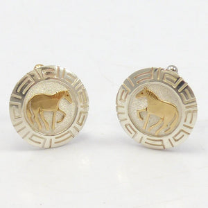 Gold on Silver Horse Cuff Links