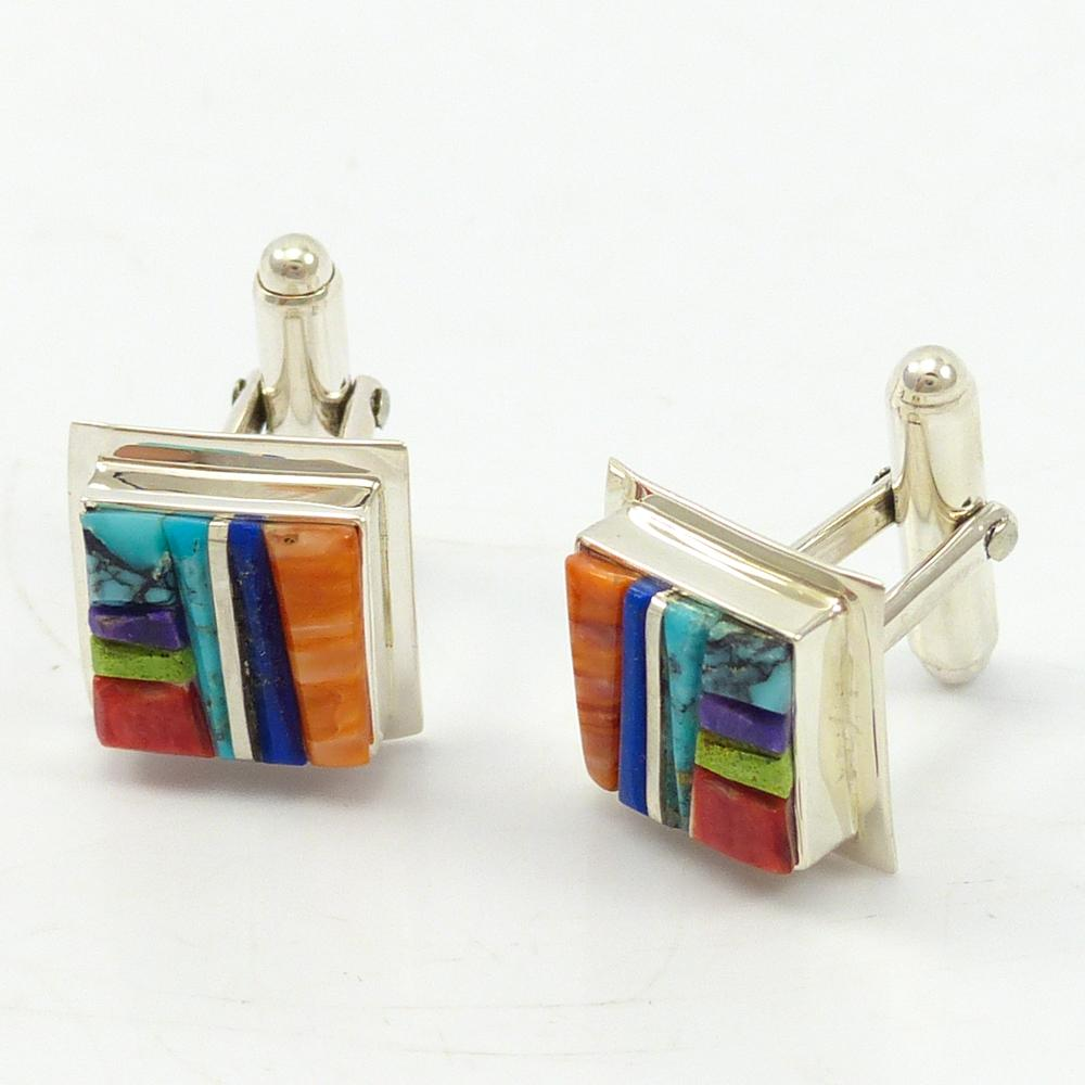Cobble Inlay Cuff Links