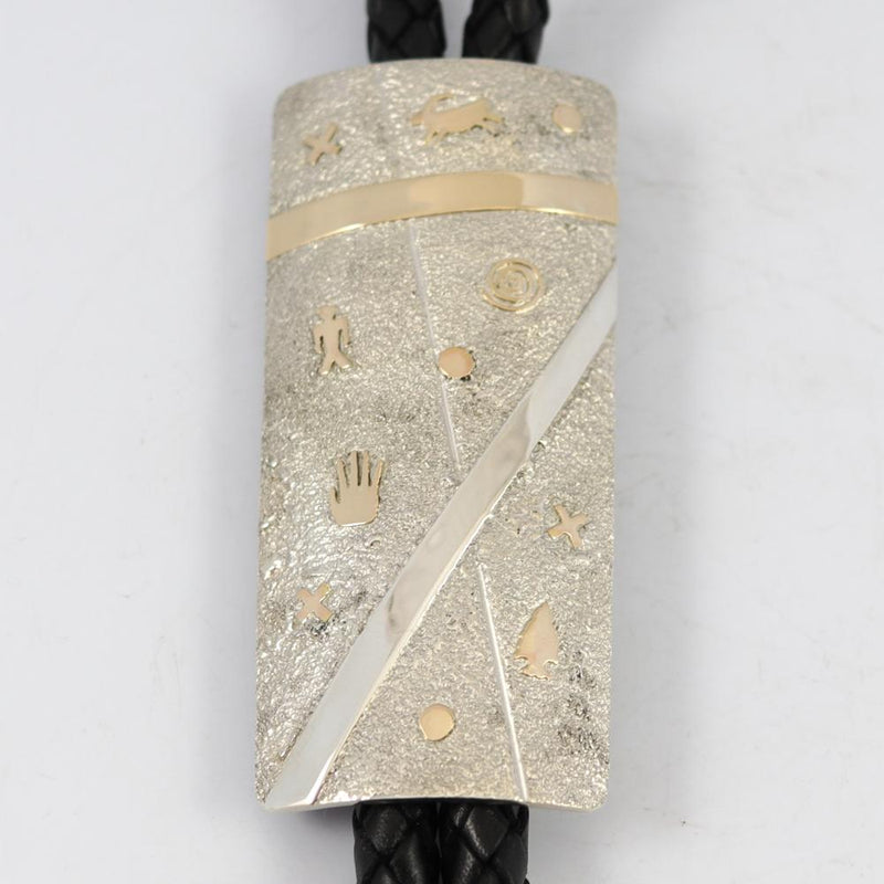Gold on Silver Bola Tie