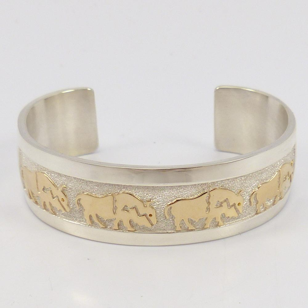 Gold on Silver Buffalo Cuff