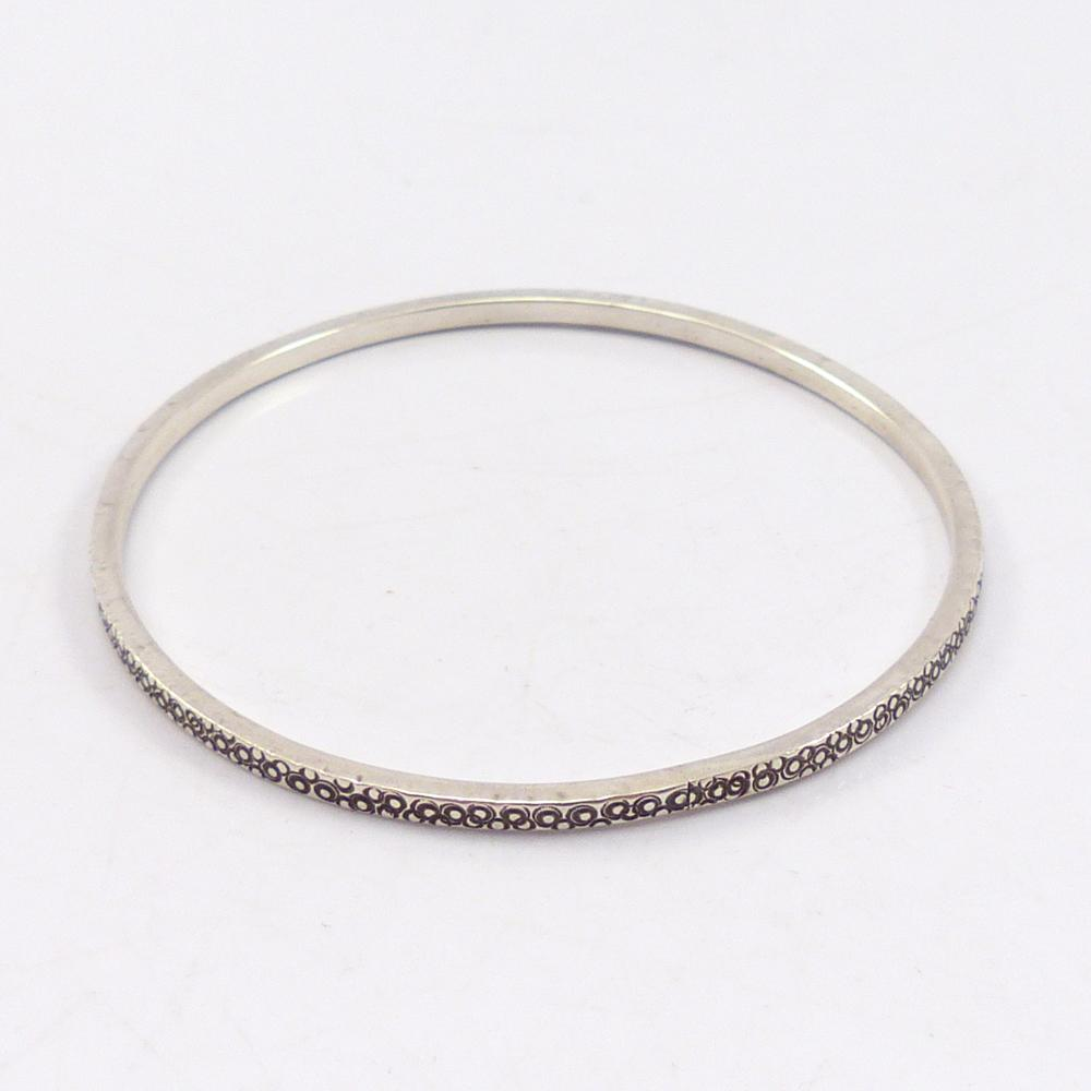 Stamped Silver Bangle