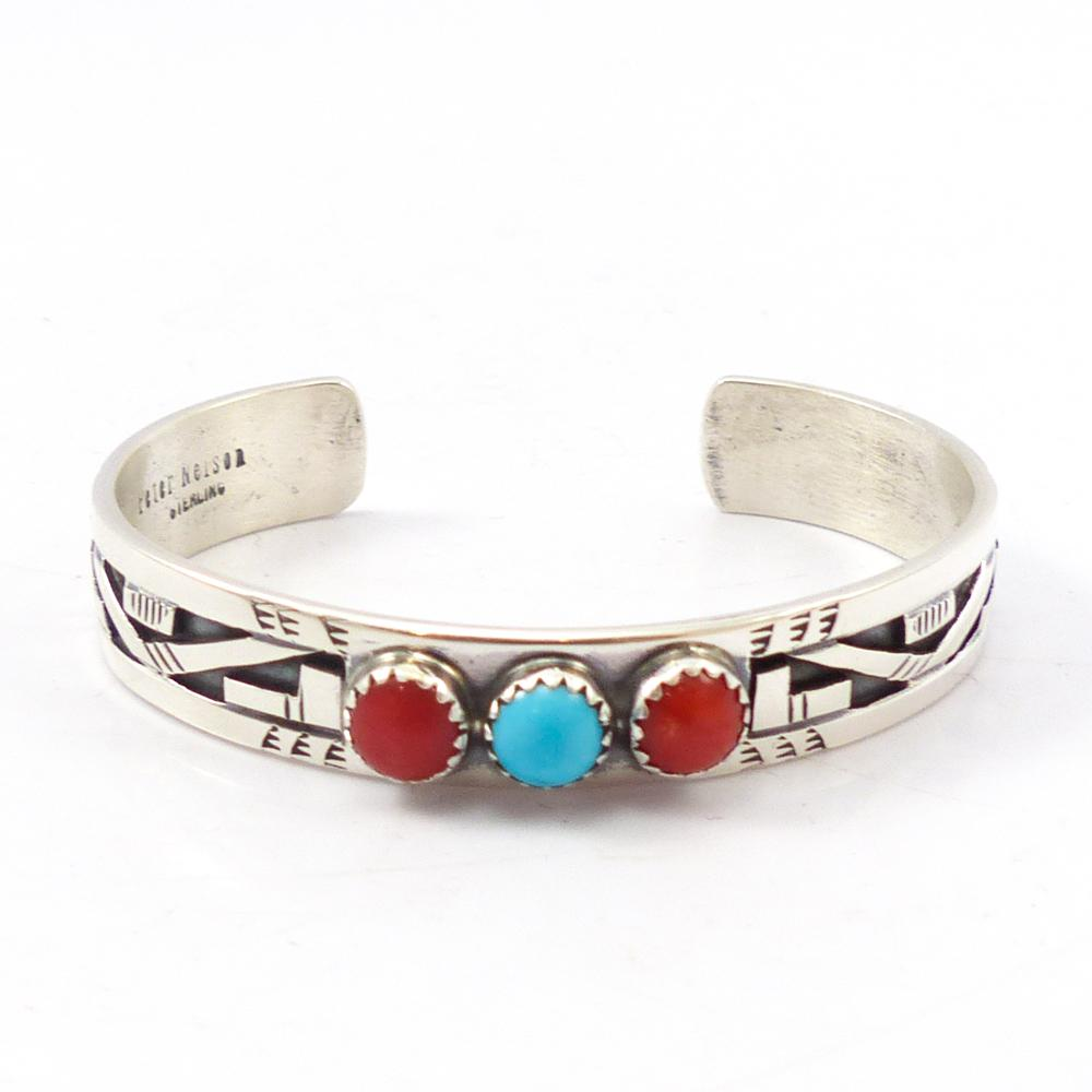 Turquoise and Coral Overlay Cuff