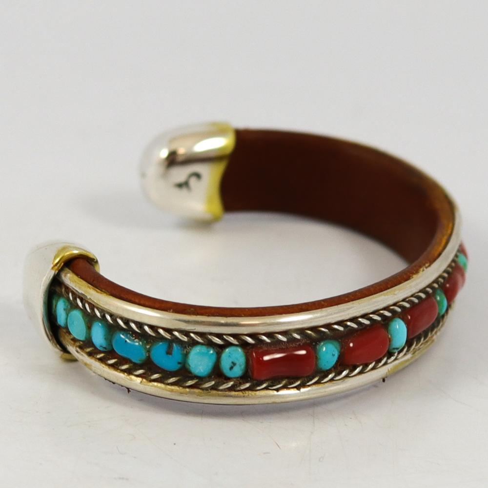 Turquoise and Coral Cuff