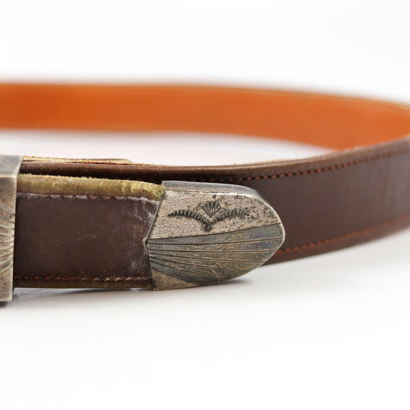 Silver Buckle on Leather