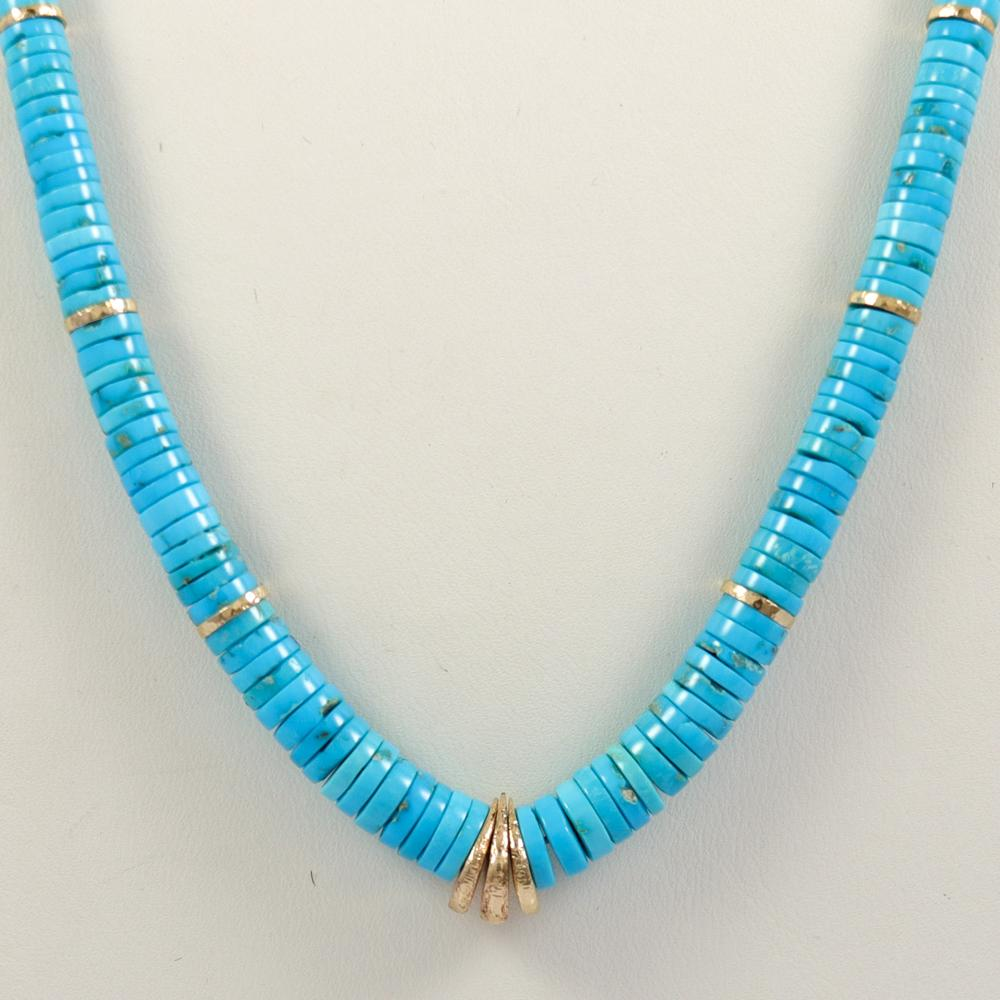 Sleeping Beauty Turquoise and Gold Necklace