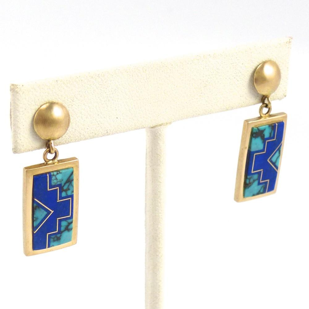 Gold Inlay Earrings, Rick Tolino and Wilbert Muskett Jr., Jewelry, Garland's Indian Jewelry